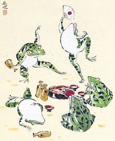 food party of Frogs. 西村欣魚-pic/Nishimura Kingyo.