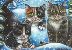 Tuxedo Calico & Gray Tabby Cat Kitten Winter Snow Original Art Painting by MARTA in Art   eBay