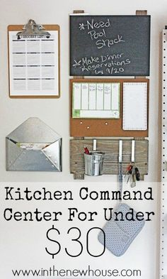 Create this super cute command center on a tight budget to get your home and family organized.