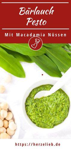 Wild garlic pesto with macadamias - this dip is sensational! Garlic Recipes, Dip Recipes, Easy Recipes, Wild Garlic Pesto, Amazing Food Photography, How To Make Pesto, Pesto Pasta, Dips, Quick Easy Meals