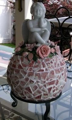 Pink Roses mosaic bowling ball- I'd make mine w/ a fairy on top! Gonna do this! by vivian