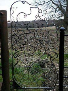 Spider web iron fence