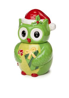 This festive owl cookie jar is a great place to stash your holiday cookies! A coordinating mug and candy bowl are also available to round out your collection. Christmas Cookie Boxes, Christmas Owls, Christmas Kitchen, Holiday Cookies, Cookie Jars For Sale, Owl Cookie Jars, Red Owl, Ceramic Owl, Candy Bowl