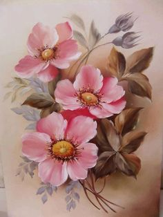 China Painting, Tole Painting, Fabric Painting, Watercolor Flowers, Watercolor Paintings, Art Paintings, Art Floral, Vintage Rosen, Pictures To Paint
