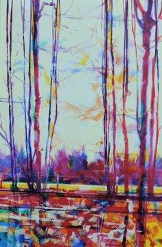 Old Hedgerow acrylic on canvas semi abstract landscape painting by Doug Eaton. Ref: 014-030 51 x 76cm