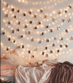 50 LED Photo Clip String Lights - Bedroom Fairy Lights with Clips for Valentine's Day or Bedroom Decoration to Hang Card - Polaroids & Pictures - Upgraded 50 Clips Warm White - Décor, Seasonal Lighting, Indoor String Lights String Lights Tumblr Room Decor, Tumblr Rooms, My New Room, My Room, Room Ideas Bedroom, Bedroom Decor, Lights Tumblr, String Lights In The Bedroom, Room Decor With Lights