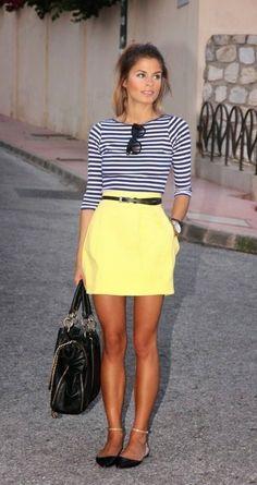 Street style   Striped top, yellow skirt, handbag