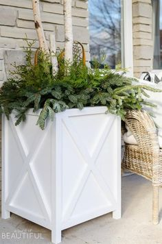 These X-style planters will fit any decor and are a great replacement for any plastic planters you may have outside your home. They add a classic farmhouse look to the front of your home. They are over-sized which make them a great scale for larger spaces. Overall measurements are 21