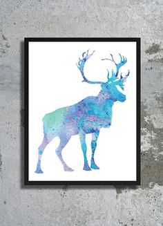 Stag Frozen Watercolor Art Print Deer poster Christmas decor Frozen poster Christmas gift Reindeer Nursery Moose painting Holiday decor