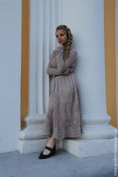 """Платье вязаное """"Мечтательница"""" - бежевый,платье,вязаное платье,ажурное платье"""