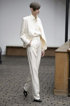 Amra Cerkezovic in a Christophe Lemaire white silk ensemble. Show AW13-14