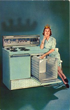 """""""New Frigidaire brings you the joy of COOKING without SLAVING in the new '59 electric ranges with the """"PULL 'N CLEAN"""" OVEN!"""""""
