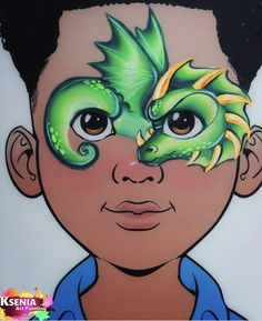 Dragon Face Painting, Boy Face, Face Painting Designs, Face Paintings, Face Design, Paint Ideas, Neon, Costume, Dinosaurs
