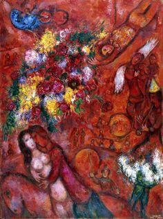 The Red Circus – Marc Chagall, 1956-1960, Oil on canvas  ◆빨간색이 주는 느낌 : 열정, 흥분, 적극성  화려한 꽃다발과 곡예사, 악단과 서커스를 관람하는 관중들이 보입니다. 전체적으로 붉은 색을 두드러지게 사용하여 서커스장의 열기와 고조된 분위기를 느낄 수 있게 해줍니다.