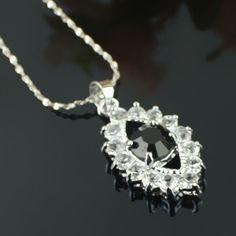 Simple mode noir collier de diamants