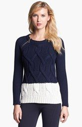 MICHAEL Michael Kors Zip Shoulder Colorblock Cable Sweater