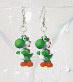 Yoshi Earrings Super Mario Bros (SD) (FS) luigi - princess peach - dinosaur - dragon - nintendo - nes - snes - super mario world