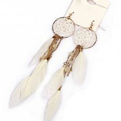 $3.69 Pair Of Bohemian Style Feather
