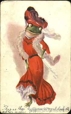 Divided Back Postcard Matinee Girl Frogs Funny Frogs, Cute Frogs, Goblin, Frog Illustration, Frog Pictures, Frog Design, Frog Art, Frog And Toad, Hippie Art