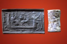 Akkadian Seal and modern impression, showing a Mesopotamian sun god with a human torso in a boat, Tell Asmar, circa 2200 B.C.