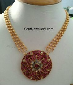 gold balls necklace ruby pendant