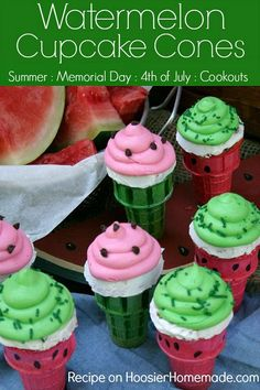These fun and EASY to make Watermelon cupcake cones not only look like but also taste like Watermelon. Perfect for your summer parties! Baking Cupcakes, Yummy Cupcakes, Flavored Cupcakes, Cupcake Flavors, Cupcake Recipes, Dessert Recipes, Cupcake Ideas, Dessert Ideas, Watermelon Ice Cream