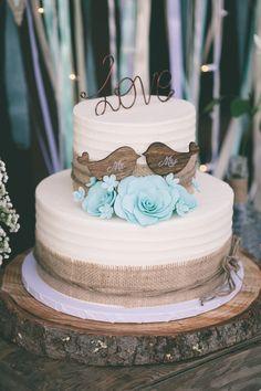 Rustic wedding cake. Love. Love birds. :)  MEGAN AND MATT Photo By Holly Daze Photos