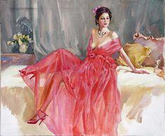 Stanislav Fomenok - Sitzender Frau in roten Kleidung
