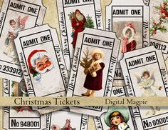 Christmas tickets vintage digital collage sheet instant download printable Admit One for party scrapbook ephemera journaling by DigitalMagpie on Etsy