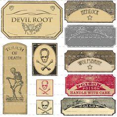 Vintage Poison Witchcraft Potion Bottle Labels Halloween Props Devil Skull Bones | eBay