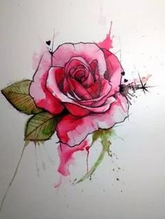 Gorgeous watercolor rose tattoo Itd be a fun detail to incorporate into a – Tattoos pictures – Tattoo ideas Trendy Tattoos, New Tattoos, Cool Tattoos, Tatoos, Irish Tattoos, Awesome Tattoos, Watercolor Rose Tattoos, Rose Watercolour, Watercolor Water