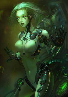 See more 'Robot Fetishism / ASFR' images on Know Your Meme! Fantasy Anime, Sci Fi Fantasy, Fantasy Girl, Fantasy Women, Cyborg Girl, Female Cyborg, Arte Cyberpunk, Blade Runner, Arte Robot