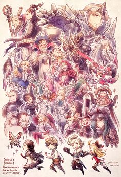 The Bravely Default cast~ Square Enix Games, Bravely Default, Character Art, Character Design, Octopath Traveler, Off The Map, Nerd Art, 2nd Anniversary, Fantasy Dragon