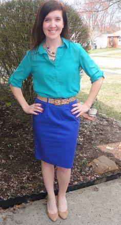 HK Style Journey Blog: #emerald green blouse, #blue skirt, #leopard belt.  Like these colors together!