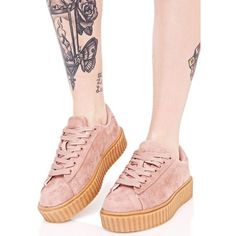 Pink Vegan Creeper Sneaker ($38) ❤ liked on Polyvore featuring shoes, sneakers, lace up shoes, vegan sneakers, rose shoes, creeper sneakers and creeper platform shoes