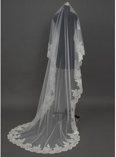 Cathedral Bridal Veils Tulle One-tier Drop Veil Lace Applique Edge Applique 118.11 in (300cm) White Ivory White White Spring Summer Fall Winter A-line/Princess Ball Gown Sheath Mermaid Color & Style representation may vary by monitor 0.2 kg 0.25 kg Weddin