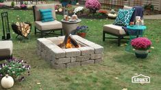 Liven up your landscape with a custom fire pit using retaining wall blocks.