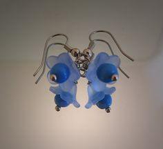 Flower earrings with blue resin flower  blue Czech door deBATjes