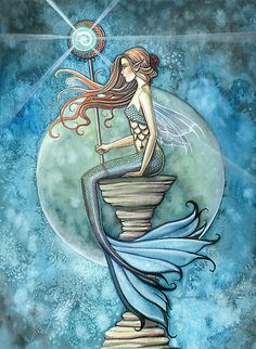 """""Jade Moon"" Mermaid Art by Molly Harrison"" by Molly Harrison 