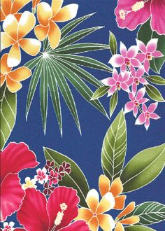 20ulana stylized, multi-colored hibiscus, plumeria, orchids and ferns apparel cotton, tropical Hawaiian vintage style fabric. apparel cotton, tropical Hawaiian vintage style fabric.  More fabrics at: BarkclothHawaii.com