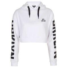 TopShop Brooklyn Sports Hoodie (€11) ❤ liked on Polyvore featuring tops, hoodies, sport hoodie, topshop hoodies, sports tops, hooded sweatshirt and sports hoodie