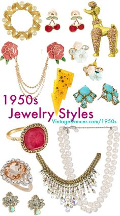 1950s jewelry styles and trends. Pins, flower earrings, gold bracelets, rhinestone cocktail rings, pearl necklaces, and sweater guards. Learn and shop at VintageDancer.com/1950s