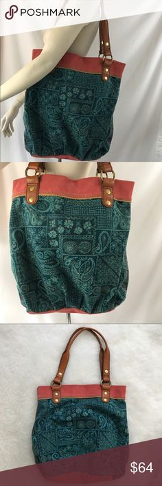 Lucky Brand vintage Turquoise Paisley boho purse Vintage pink Suede turquoise Paisley boho bucket Large shoulder bag Lucky Brand Bags Shoulder Bags