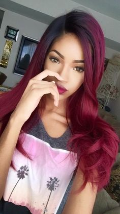 i wish i could do this to my hair hair to dye for натур Love Hair, Great Hair, Gorgeous Hair, Brazilian Hair Bundles, Red Hair Don't Care, Natural Hair Styles, Long Hair Styles, Burgundy Hair, Hair Color And Cut