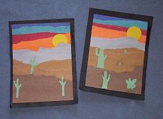 saudi arabia deserts- layered, ripped paper landscape (no cactus! Primary Science, Kindergarten Science, Class Projects, Art Projects, Desert Animals, Desert Art, Animal Habitats, Thematic Units, Torn Paper