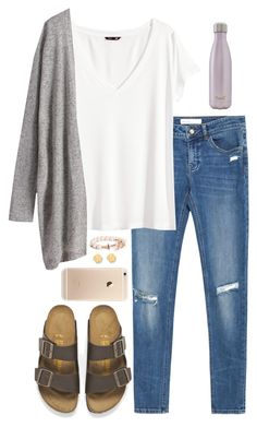 """Birks"" by eliekcole ❤ liked on Polyvore featuring Zara, H&M, Birkenstock, S'well and Tory Burch"