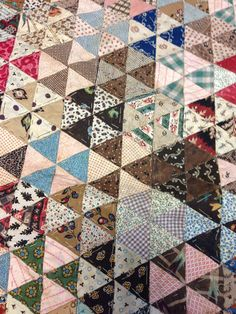 "Detail, Antique Hand Stitched Triangle Patch Quilt Incomplete 31"" x 39"" 