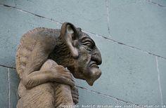 Gargoyle above doorway on Michalska Street, near St Michael's Gate, Bratislava, Slovakia