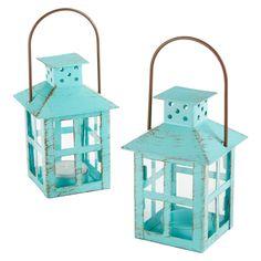 Kate Aspen Vintage Blue Lantern - Set of 6 - Turquoise Aqua Decor Small Lanterns, Vintage Lanterns, Metal Lanterns, Candle Lanterns, Lantern Decorations, Blue Lantern, Lantern Set, Lantern Tea Light Holders, Candle Holders