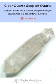 Scepter Crystals focus spiritual energy from higher realms deep into the center of a problem or issue Clear Quartz, Quartz Crystal, Healing Stones, Crystal Healing, Wholesale Crystals, Crystal Guide, Rock Collection, Natural Crystals, Reiki